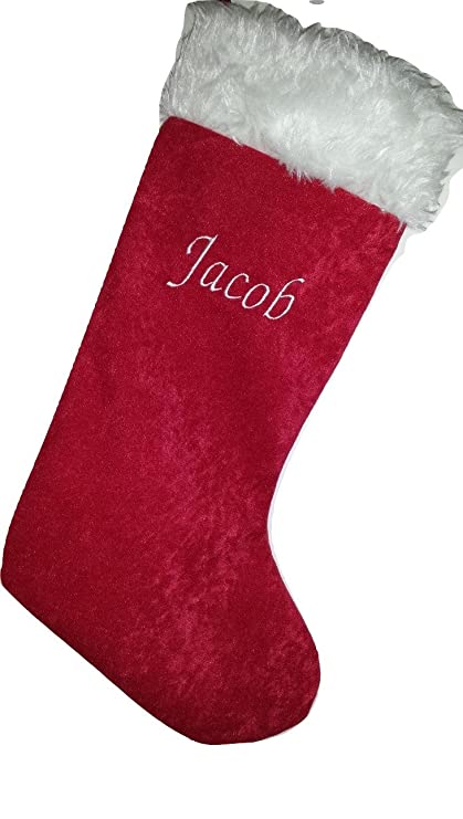 Red Velvet Handmade Deluxe Santa Xmas Stockings 7 Colours Matching Personalised Christmas Sacks Name Embroidered