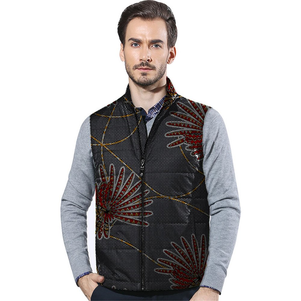 African 2018 Men's Vest Bomber Jackets Aviator Coat Zip Suit Dashiki Vintage Clothing Wear 6 M