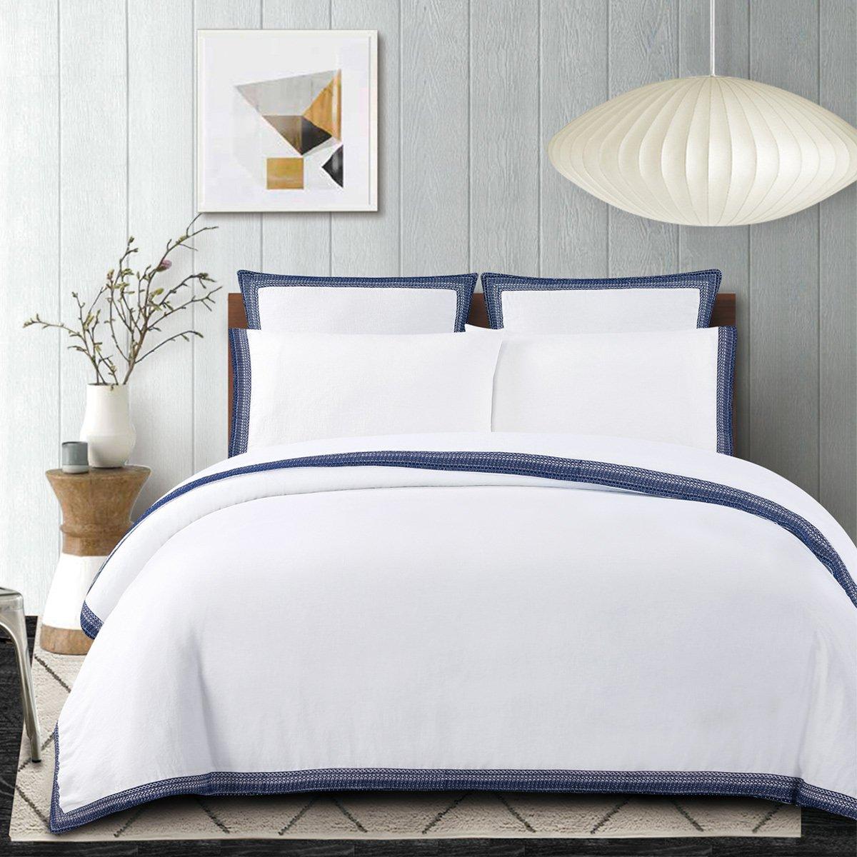 Indigo bluee King Echelon Home Sofia Embroidered Belgian Linen Sheet Set, Queen, Indigo bluee
