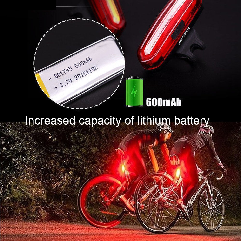 Bodyguard Bike Tail Light-USB Charging,120lm, 6 Light Modes, Waterproof, Helmet Front Light Accessories. High Intensity LED Fits on any Bicycles. Easy To install for Cycling Safety Flashlight