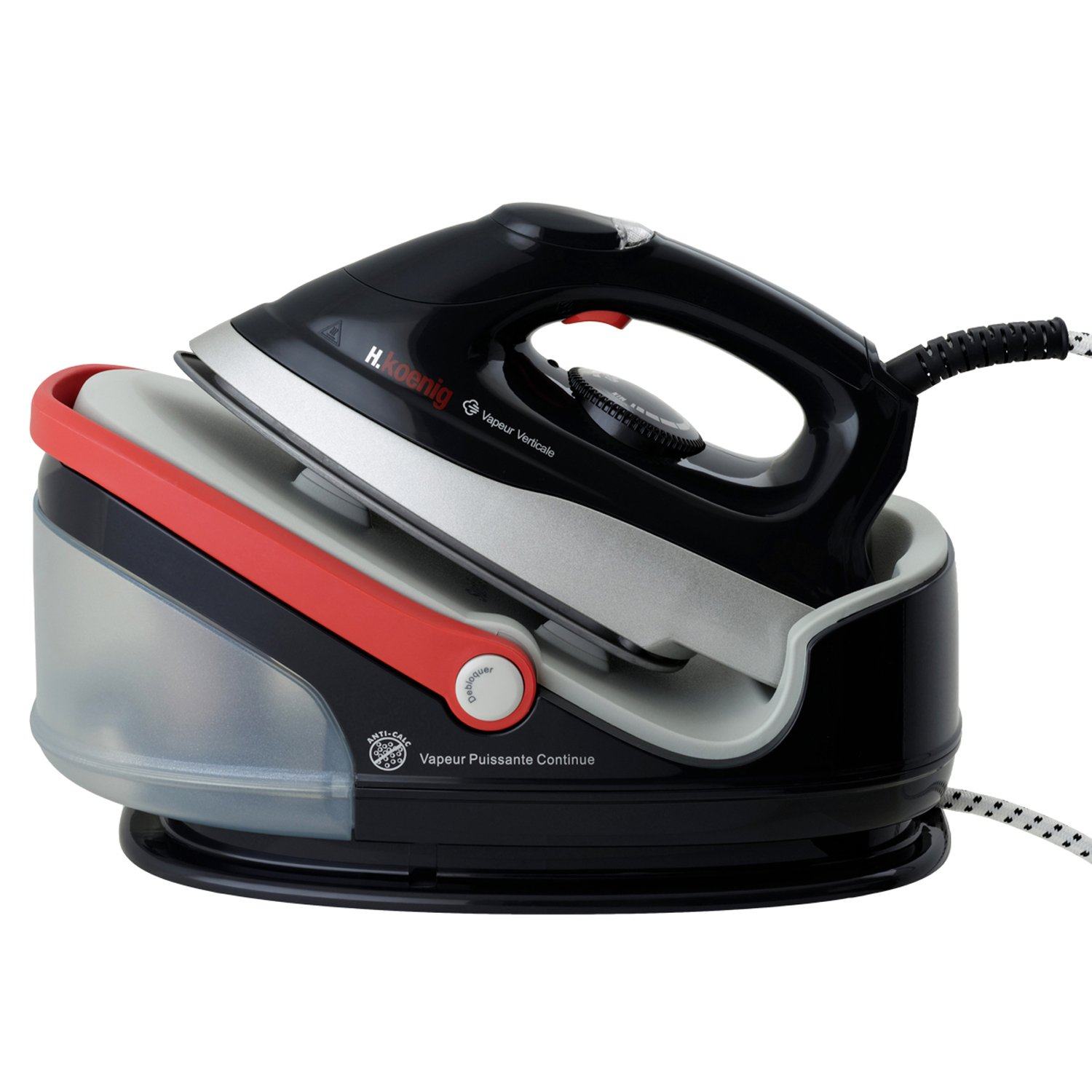 H.Koenig V85 Steam Generator Iron Ceramic Soleplate, 1.7 Litre, 2400 W, 3.5 Bar, Black