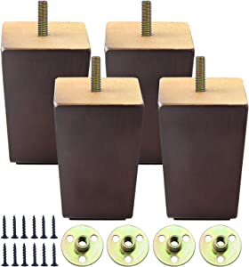4 Inch Wooden Furniture Legs Set of 4, Mid Century Brown Color Square Couch Legs Replacement for Chair, Sofa, Armchair, Bed, Dresser, Ottoman, Settee, Recliner, Cabinet, Coffee Table