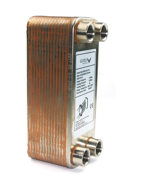 Copper Brazed Wort Chiller for Homebrew- Heat Exchanger for Water Heater- Brazed 30 Stainless Steel Plates Wort Chiller for Homebrew Beer - RC 1/2'' X 4