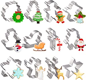 Joyoldelf 12pcs Christmas Cookie Cutters Set, Metal Biscuit Molds for Baking Gingerbread Man, Santa Claus, Christmas Tree,Snowman, Candy Cane, Reindeer and More Shapes for Party Treat Decoration