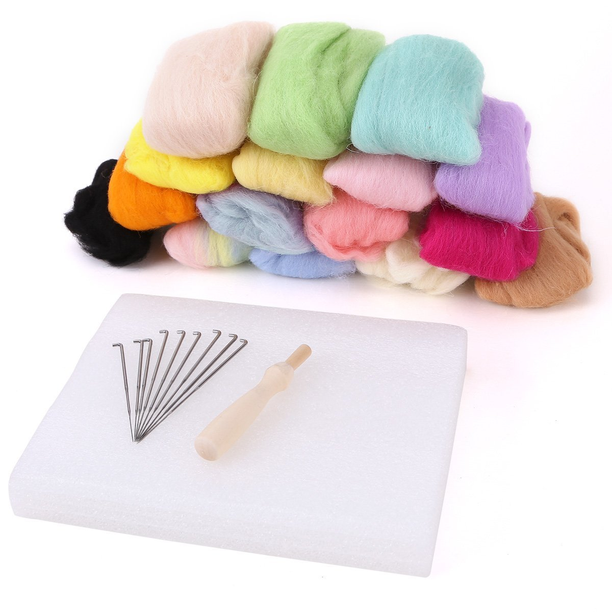 160G 16 Colors Pure Wool Felt Craft Tops Felting Set Needle Kit Starter Felted Mat surepromise