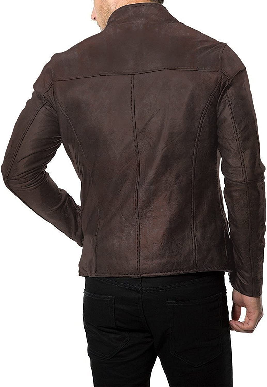 1501169 Laverapelle Mens Genuine Lambskin Leather Jacket Black, Racer Jacket