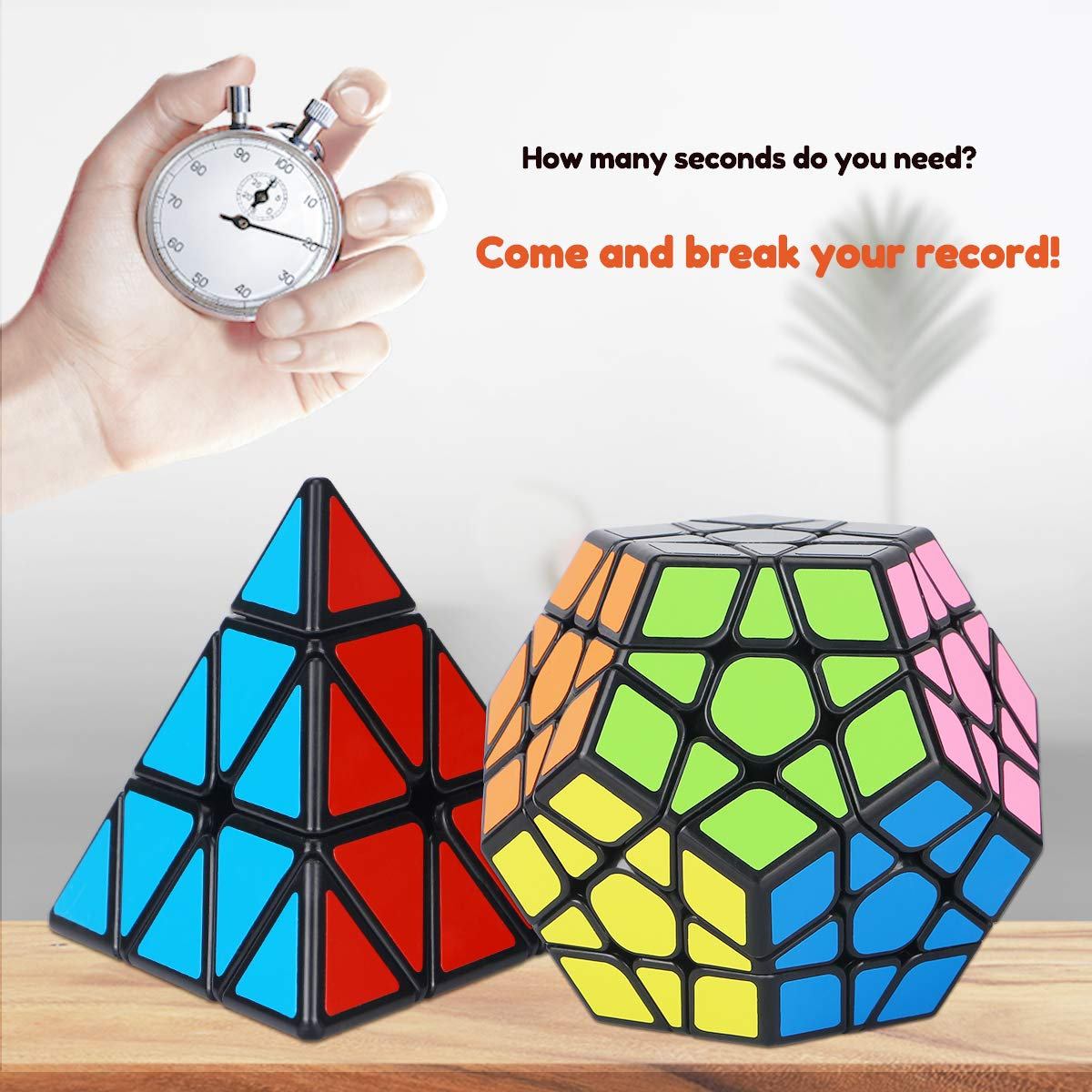 Aiduy Speed Cube Set, Smooth Magic Cube Bundle 2x2 3x3 4x4 Pyramid Megaminx Skew Mirror Ivy Stickerless Cube Puzzle, 3D Puzzles Cube for Kids and Adults Set of 8