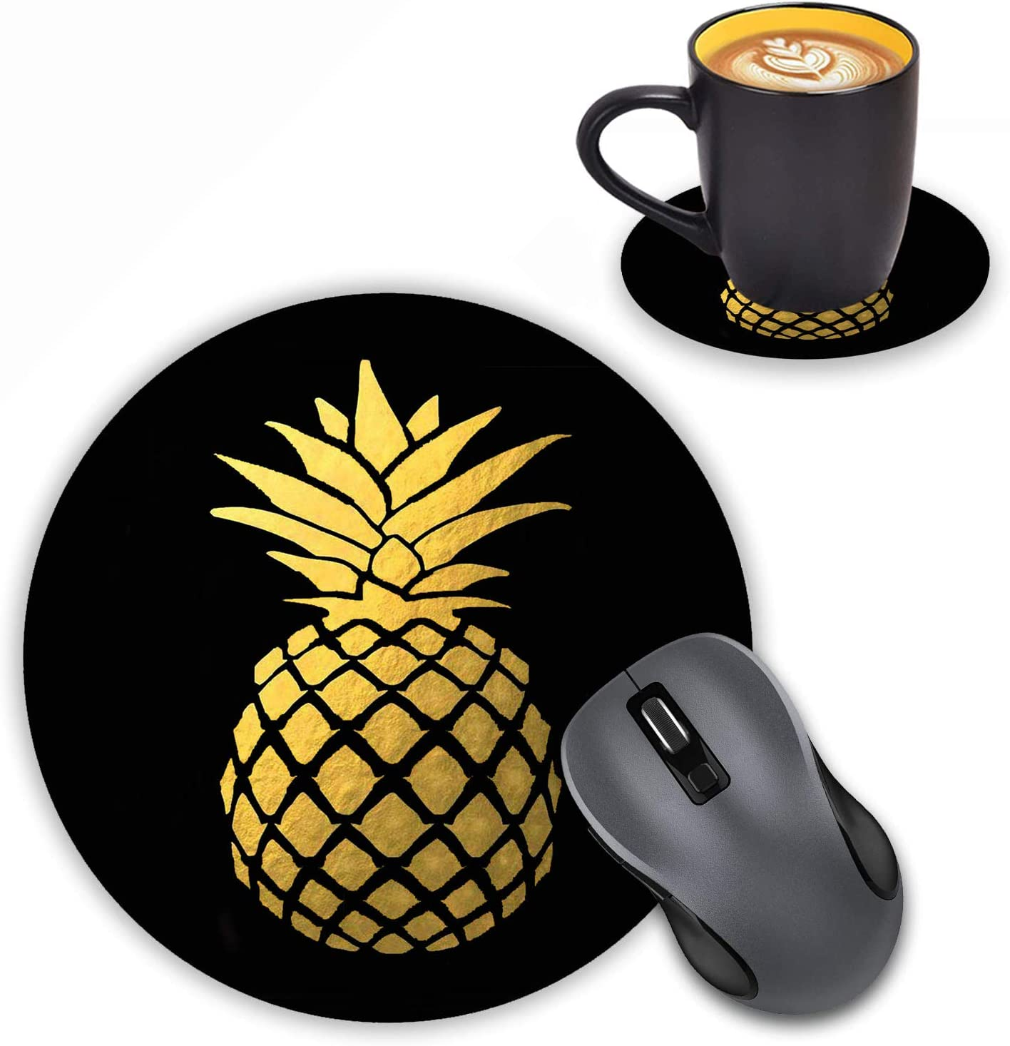 Round Mouse Pad with Coasters Set, Gold Foil Pineapple Design Mouse Pad Non-Slip Rubber Mousepad Office Accessories Desk Decor Mouse Pads for Computers Laptop
