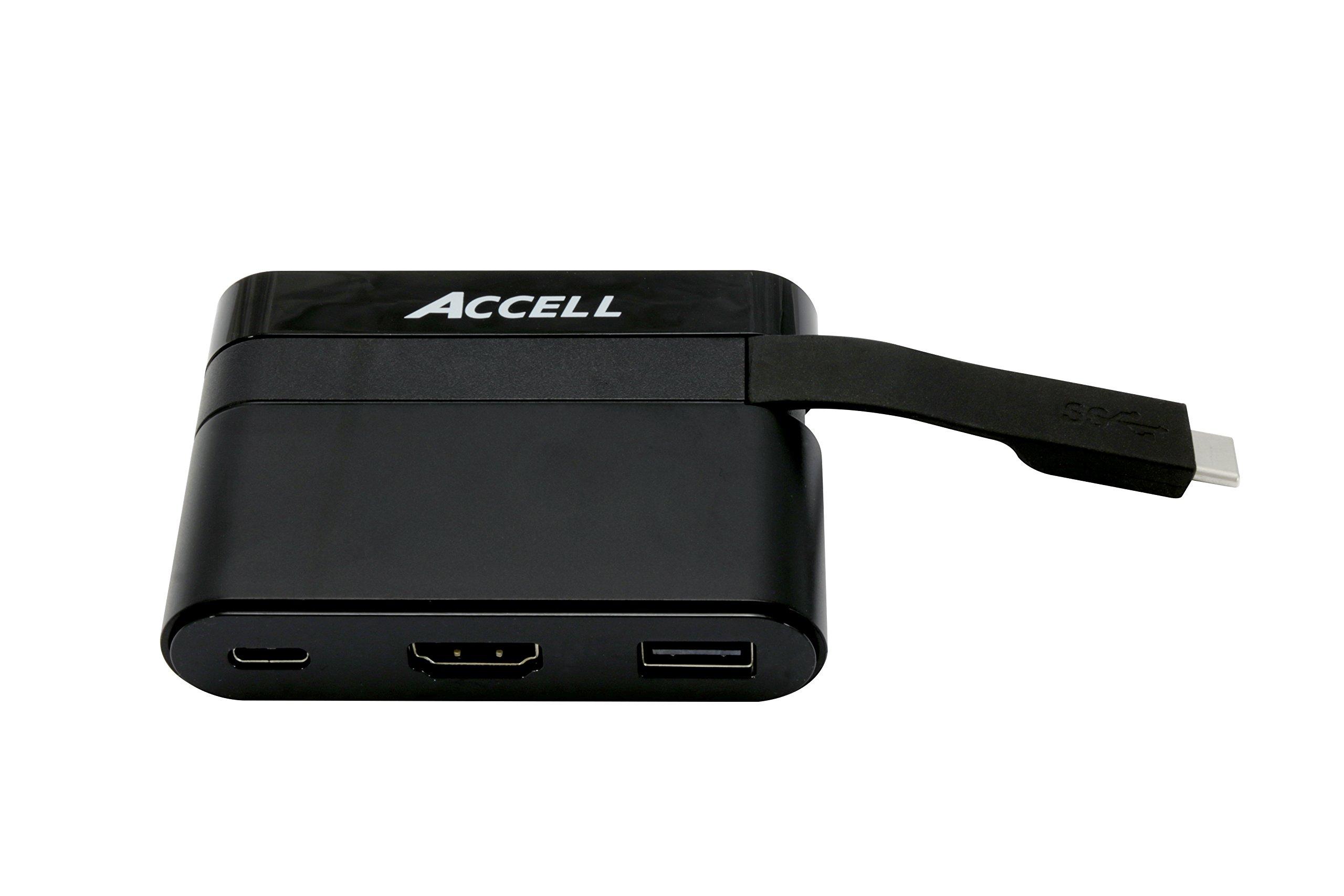 Accell U206B-001B USB-C Portable Dock - HDMI 2.0 (4K UHD @ 60Hz), USB-A 2.0, USB- C Charging Port 3Amp - Compatible with Thunderbolt 3, MacBook Pro 2017, MacBook Retina, Chromebook Pixel 2015
