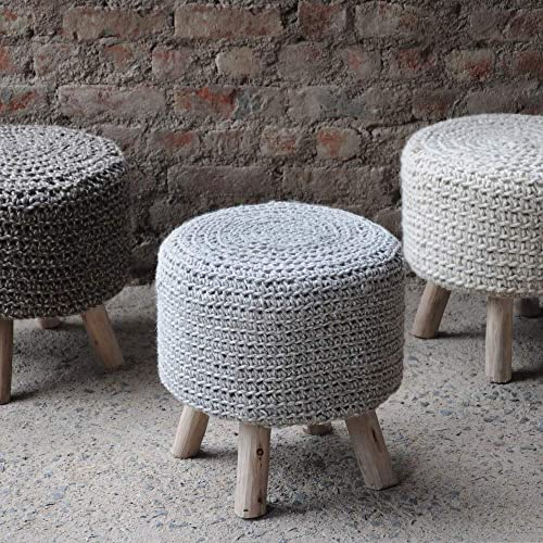 Christopher Knight Home Living Mosiac Hand Knit Wool Fabric Stool Grey