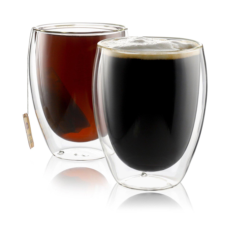 Teocera Double Walled Insulated Glass Coffee Mugs or Tea Cups for Espresso, Latte, Cappuccino, Borosilicate Glassware, 12 ounce, Set of 2 Espresso Cups …