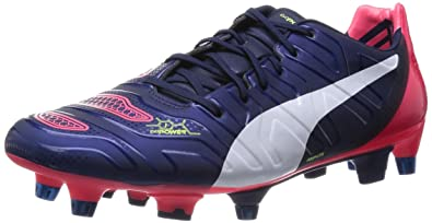 Puma evoPOWER 1.2 Mixed SG, Chaussures de football homme - Bleu - Blau (peacoat-white-bright plasma 01), 39 EU
