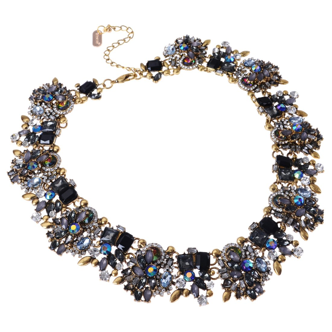 Jerollin Vintage Gold Tone Chain Multi-Color Glass Crystal Charm Choker Statement Collar Necklace