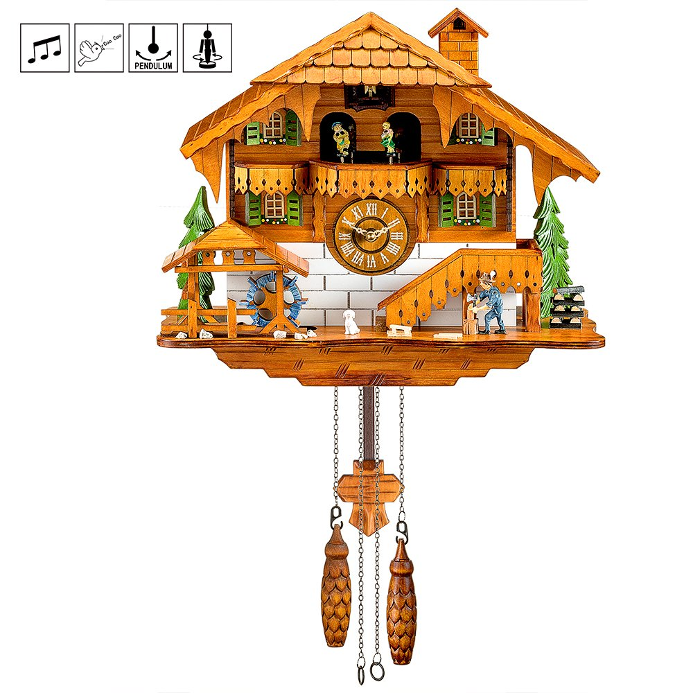 Kintrot Cuckoo Clock Black Forest Chalet Clock Quartz Wooden Wall Clock Pendulum Movable Bird, Dancers, Watermill, Wood Chopper 12 Different Melodies