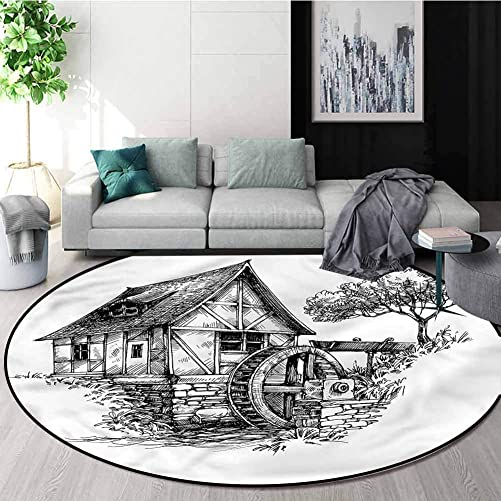 RUGSMAT Vintage Round Area Rug,Watermill Rural Countryside Living Dining Room Bedroom Hallway Office Carpet Round-71