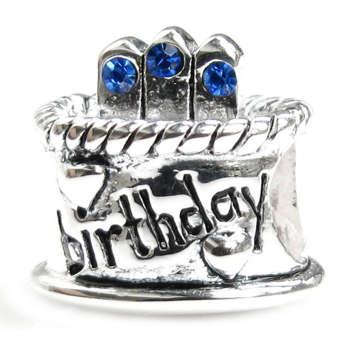 Sterling Silver Birthday Cake Blue Simulated September Birthstone Round European Bead Charm