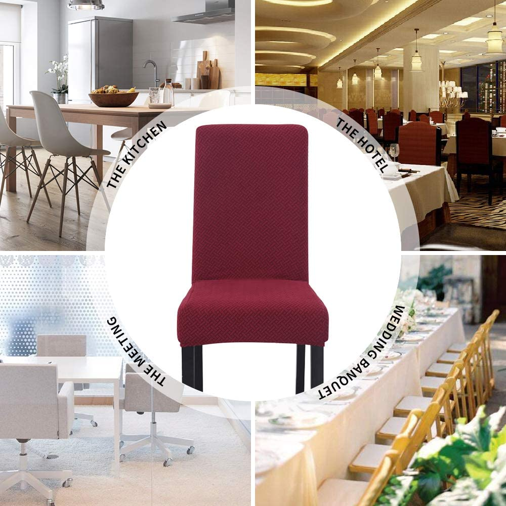 1 PCS Removable Chair Slipcover Elastic Fabric Jacquard Dining Chairs Covers for Kitchen Hotel Stretch Chair Covers for Dining Room Banquet Brown Ceremony