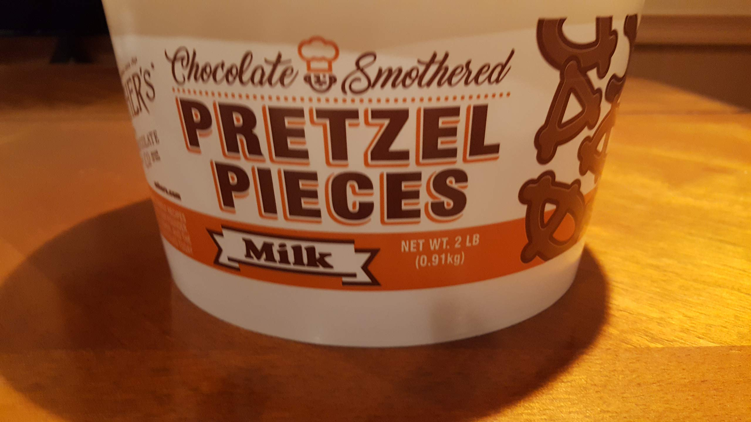 Ashers Milk Chocolate Pretzel Pieces, 2 Pound Plastic Tub by Ashers Chocolate