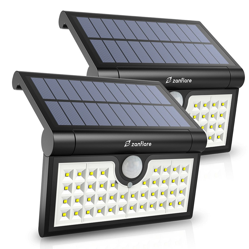 42 LED Motion Sensor Solar Light Outdoor, Zanflare Super Bright Solar Powered Wall Path Light, Wireless Home Security Outdoor Light with Motion Activated Auto ON/Off (2 Pack)