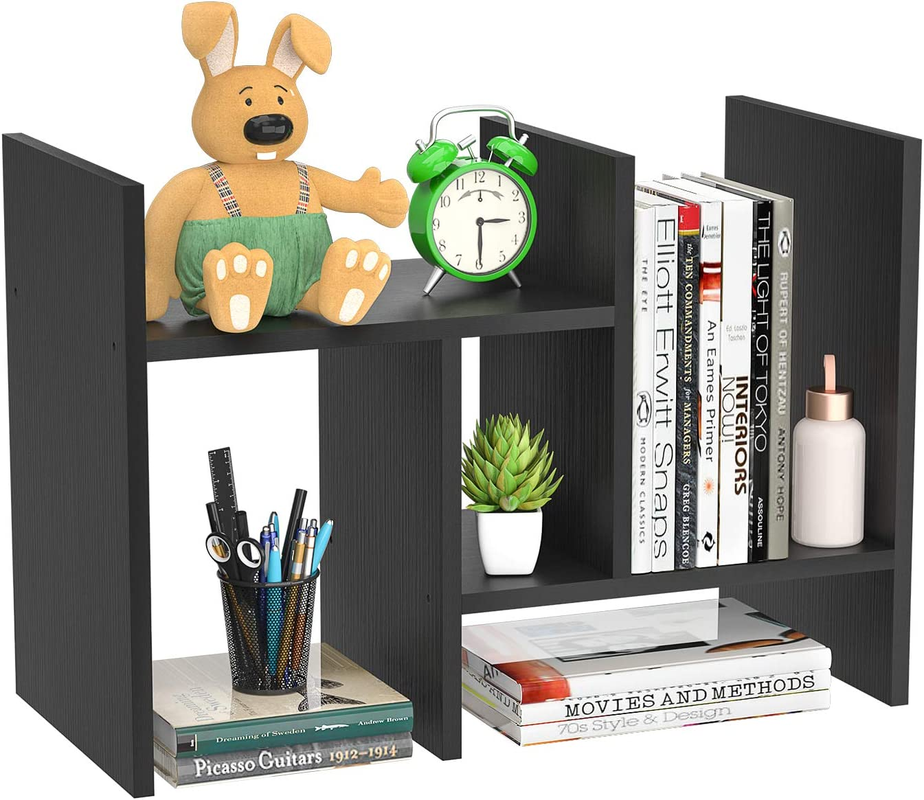 FoxEmart Desktop Shelf Organizer, Adjustable Wood Display Desk Shelf, Countertop Storage Rack Tabletop Bookshelf Multipurpose Shelves for Home Decor, Office, Kitchen, Bathroom - Black