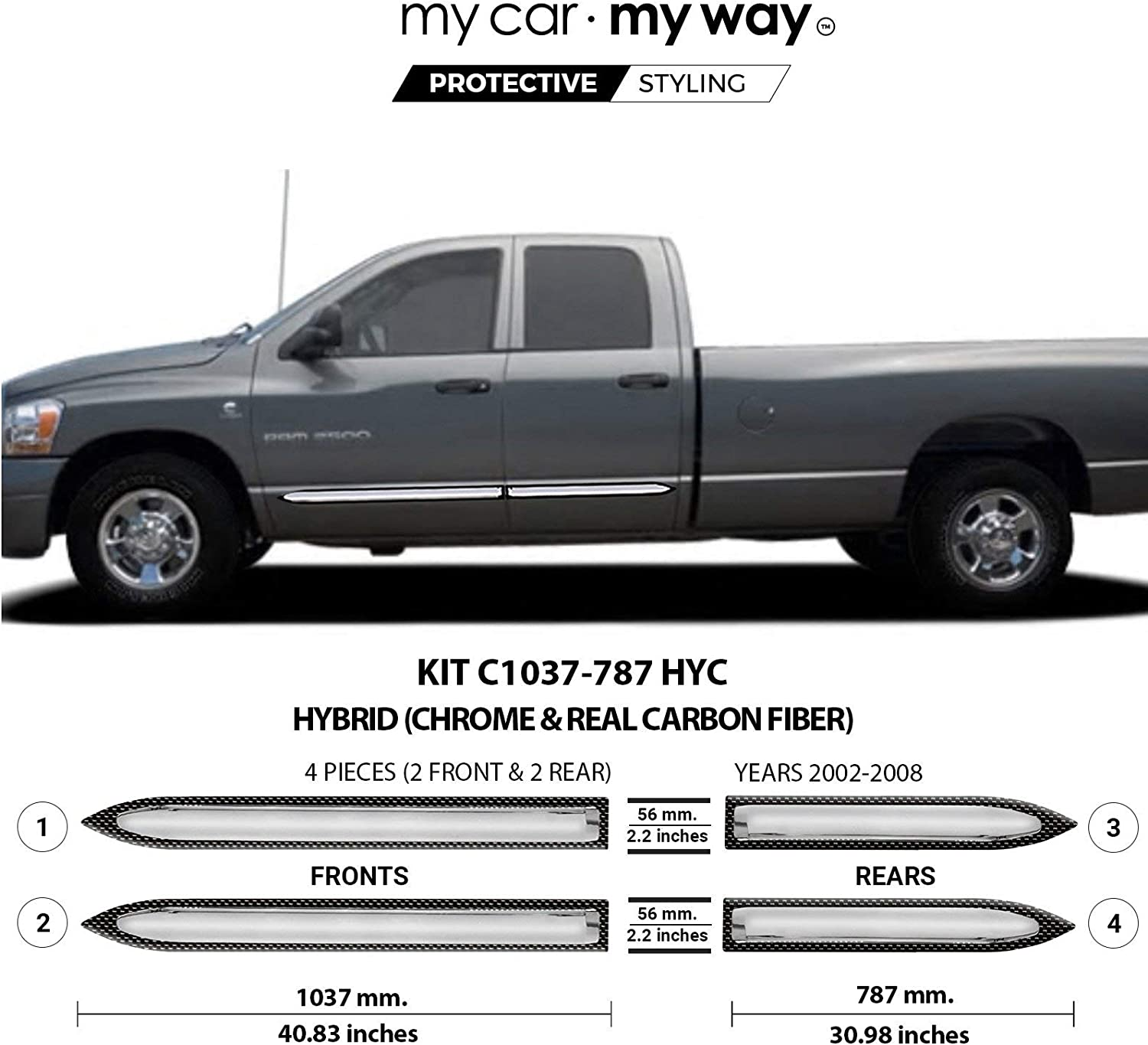 MY CAR MY WAY Chrome Body Side Molding Cover Trim Door Protector Ram 1500 2006 2007 2008 Short Box Mega Fits