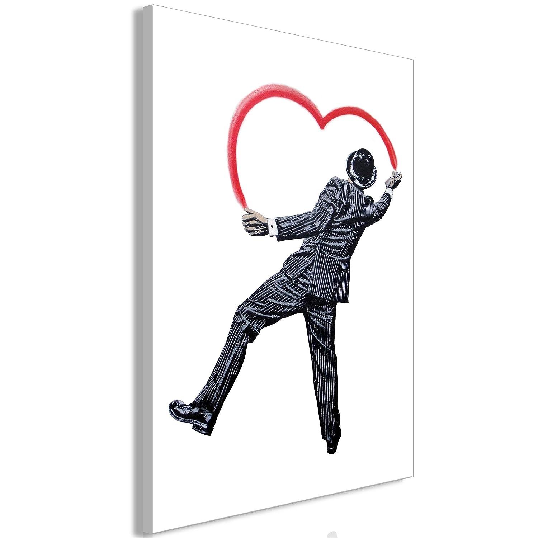 decomonkey Akustikbild Banksy 80x120 cm 1 Teilig Bilder Leinwandbilder Wandbilder XXL Schallschlucker Schallschutz Akustikdämmung Wandbild Deko leise Graffiti Herz