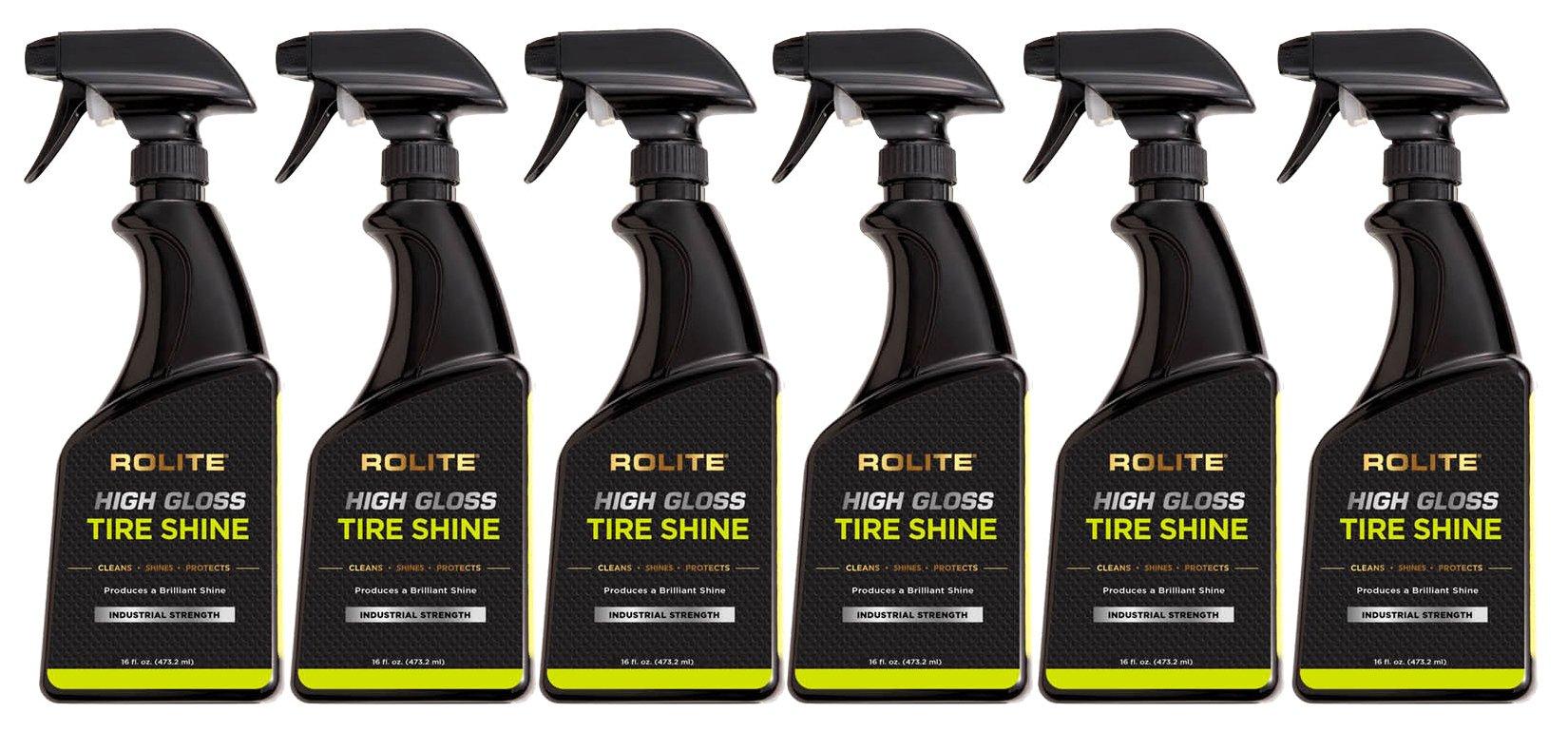 Rolite High Gloss Tire Shine (16 fl. oz.) for the Deep, Black Wet Look. Tire Dressing that Keeps the Tires Black Longer 6 Pack