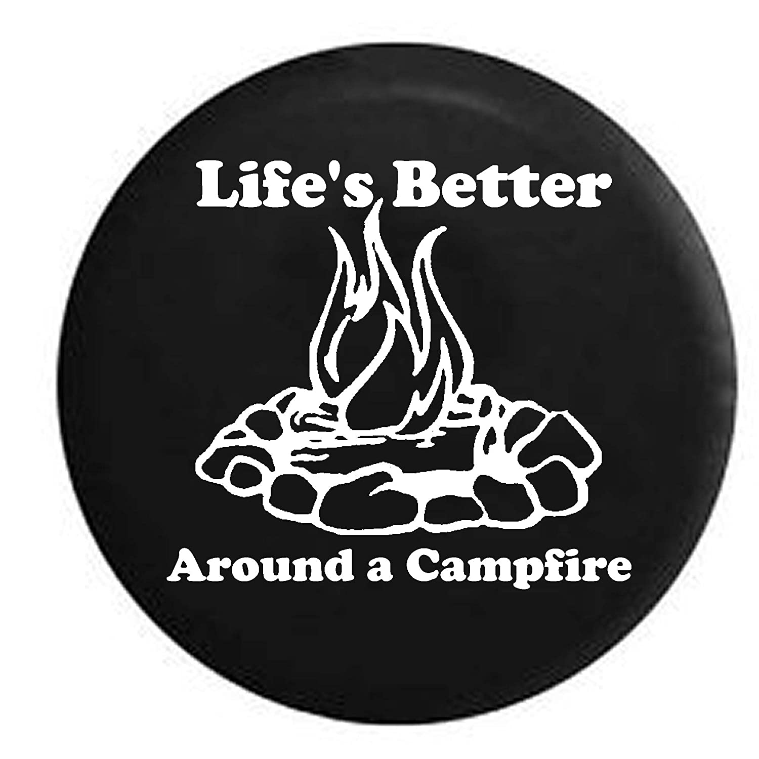 Pike Stealth Lifes Better Around a Campfire Camping Trailer RV Spare Tire Cover OEM Vinyl Black 30 in