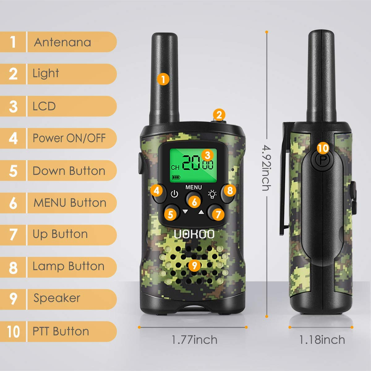 Walkie Talkies for Kids, Toys for 3-12 Year Old Boys 22 Channel 3 Mile Long Range Kids Toys and Kids Walkie Talkies, and Top Toys for for 3 4 5 6 7 8 9 Year Old Boy and Girls by UOKOO (Image #2)