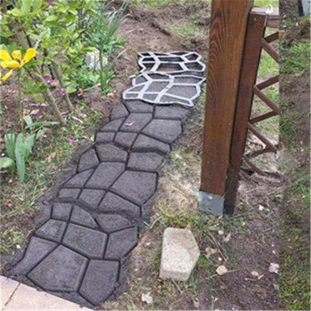 Molde para hacer pavimento de jardín, camino de piedra de cemento reutilizable para bricolaje, de 43, 5 x 43, 5 cm. Para decoración de jardín y patio, ...