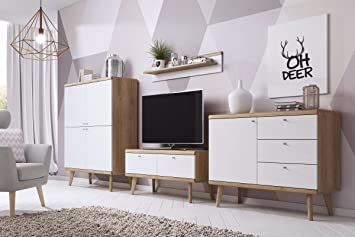 Selsey Scandi Ii Modern Wall Unit Living Room Furniture Set Tv