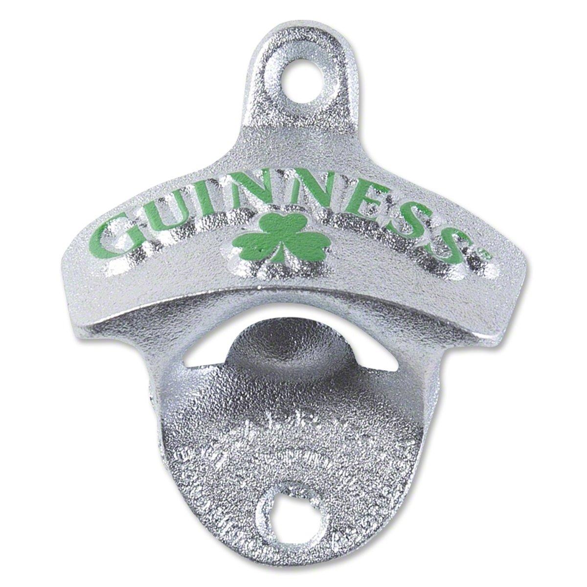 Guinness Shamrock Wall Mounted Bottle Opener - Metal Bottle Cap Remover