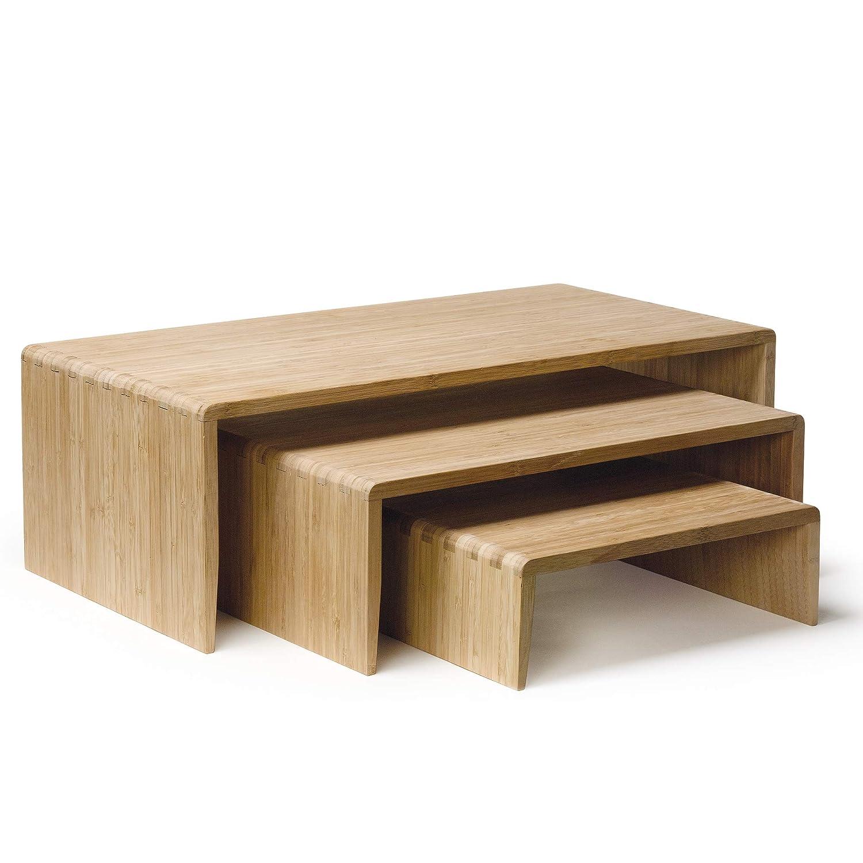 GET BAMRISERR8 Bamboo Tier Display Riser for Collectibles, Medium (Set of 3)