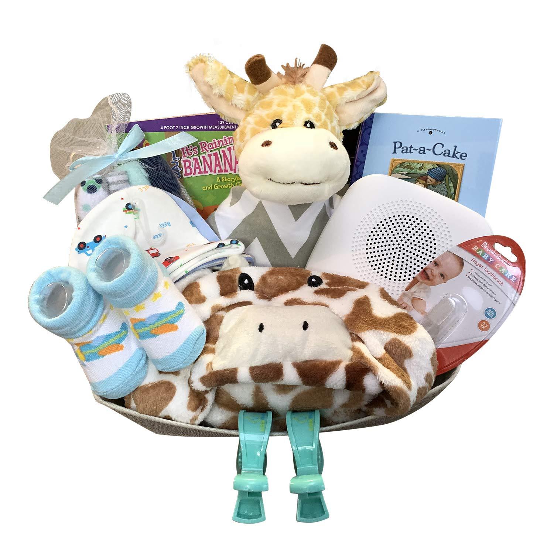 Cute Boy Girl Baby Gift Basket for Babies with Giraffe Stuff Toy (BigGiraffeBoy)