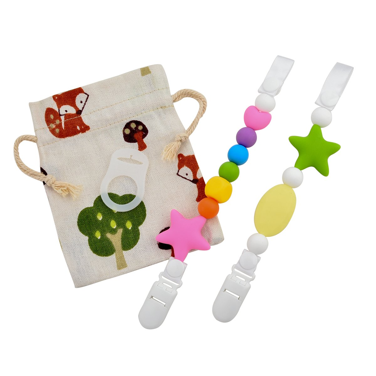 Teether Pacifier Colorful Silicone Soothie Image 1