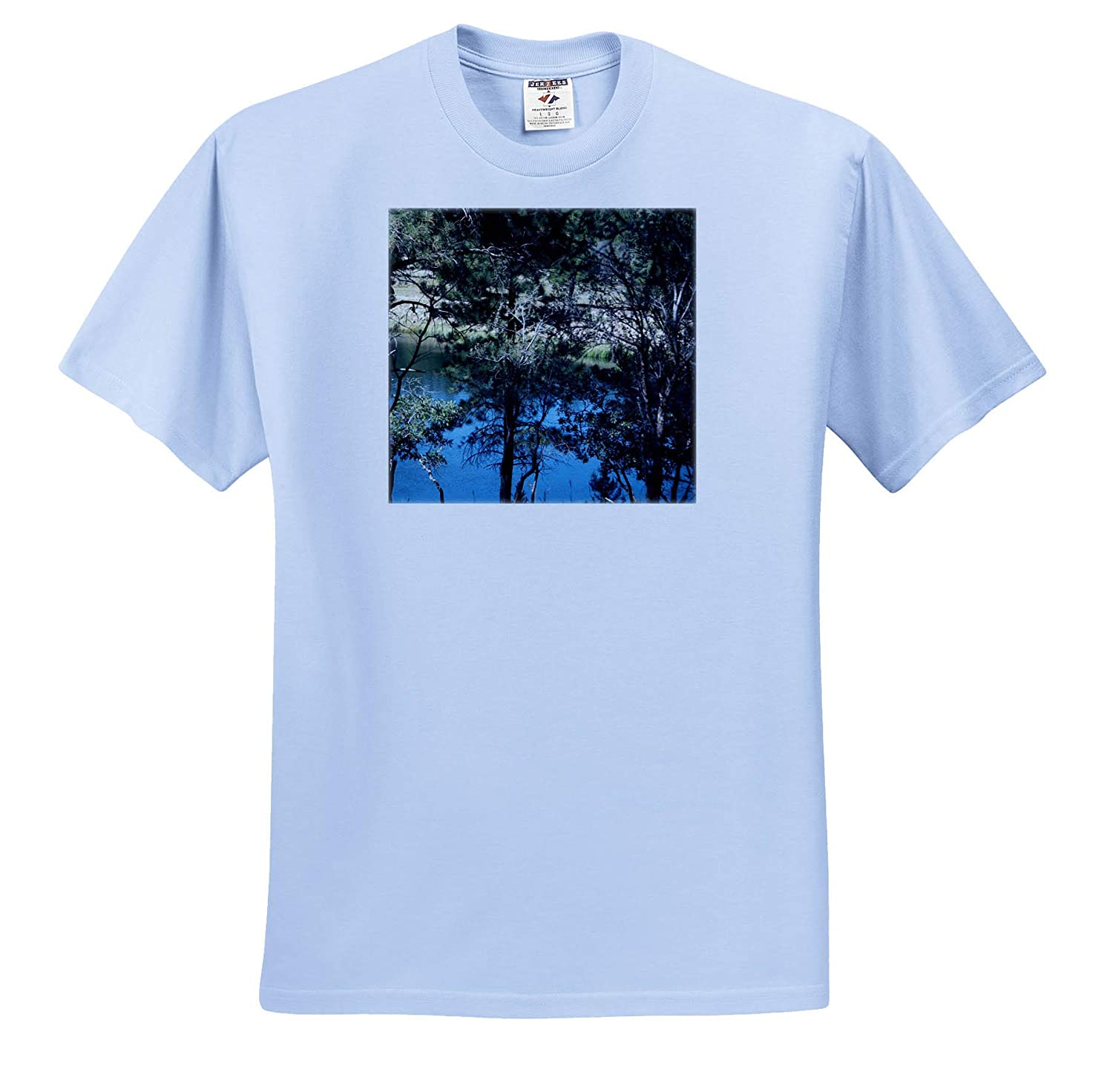A Peak into Some Trees with a Blue Lake 3dRose Jos Fauxtographee- Lake Adult T-Shirt XL ts/_318989