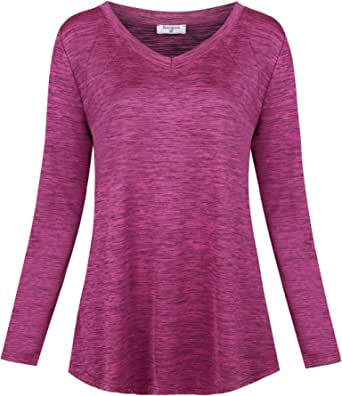Soogus Womens Yoga Tops V Neck Workout Shirts Long Sleeve Dri Fit Athletic Wear