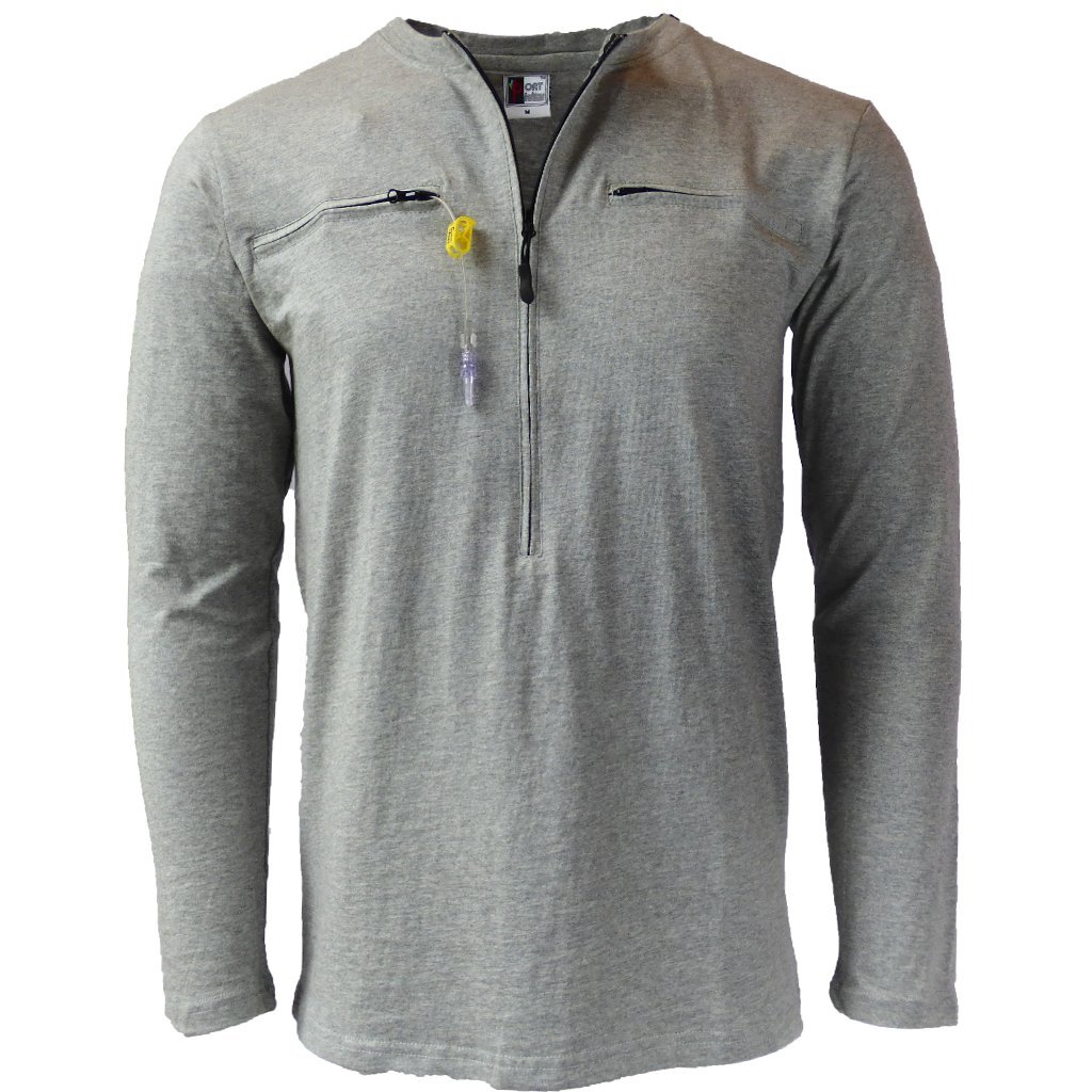 Easy Port Access long sleeve chemo shirt (large, Grey)