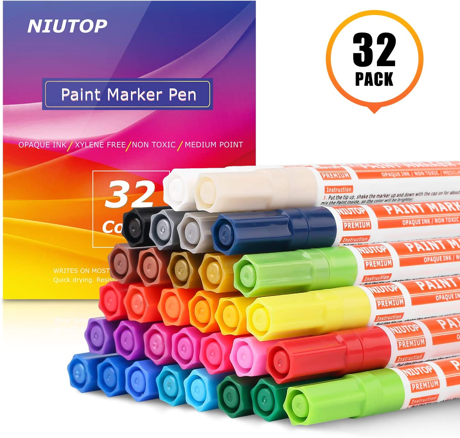Paint Pens for Rocks, 32 Vibrant Colors Paint Markers Kit for Glass, Stone, Wood, Fabric, Metal, Ceramic, Rock & More, Medium Point, Oil Based Paint Marker, Quick-Dry, Great Christmas Gift Idea