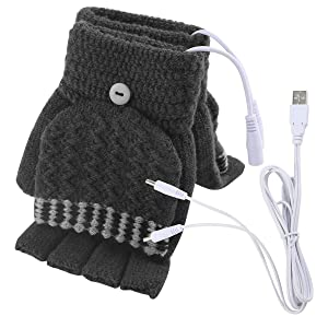 Unisex Women's & Men's USB Heated Gloves Mitten Winter Hands Warm Laptop Gloves,Yinuoday Full & Half Heated Fingerless Heating Knitting Hands Warmer Washable Design (Men Grey)