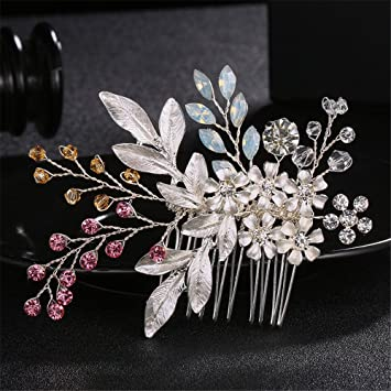 bfcd6425af0eb ... Hair Accessories Headdress modeling accessories Europe and the United  States court luxury diamond comb beautiful leaves handmade making the bride  ...