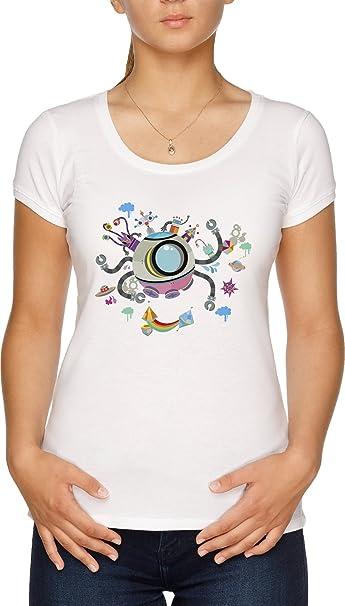 Vendax navicella spaziale cartone animato t shirt donna bianca