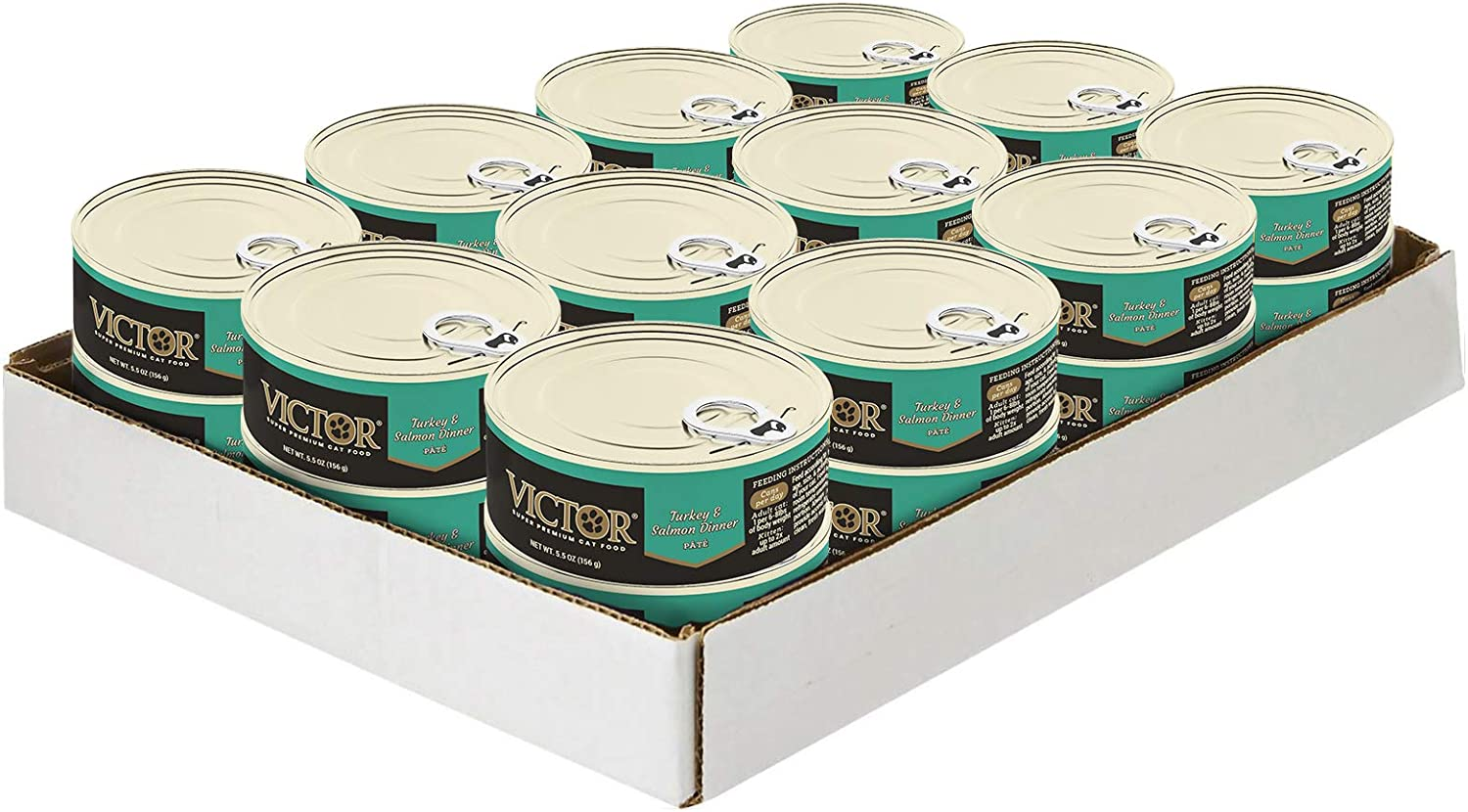 Victor Turkey & Salmon Dinner Cat Food -Canned, 24/5.5 Oz. Cans