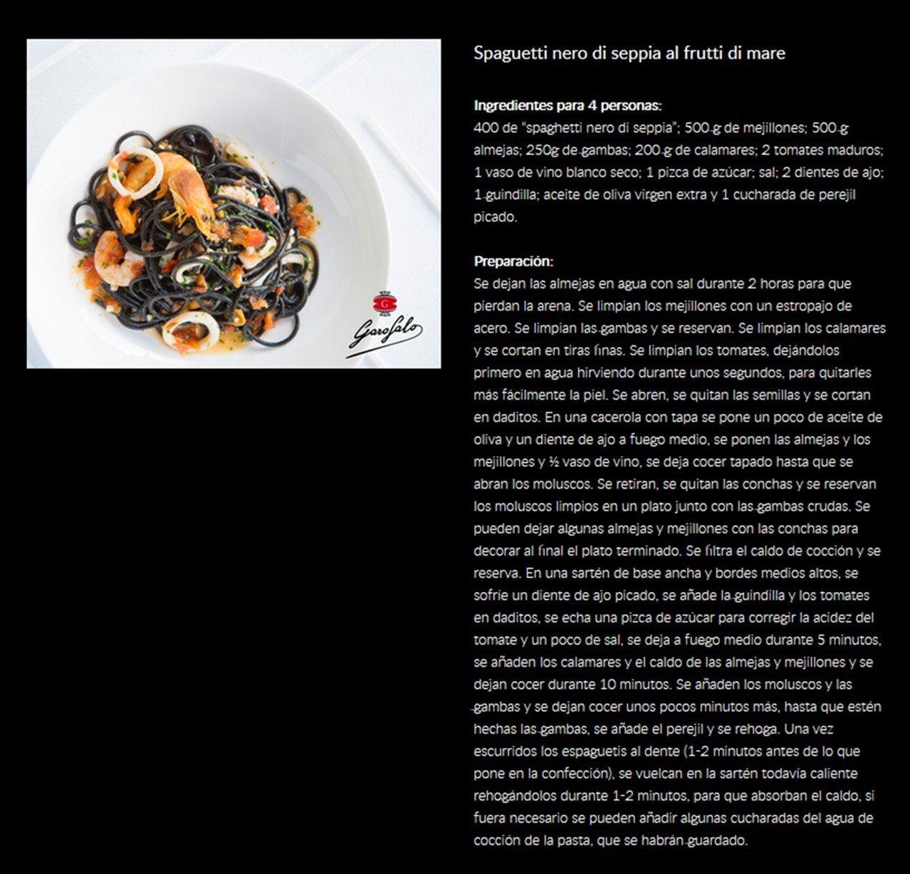 Garofalo Spaghetti al Nero di Seppia - 500 gr: Amazon.es: Alimentación y bebidas
