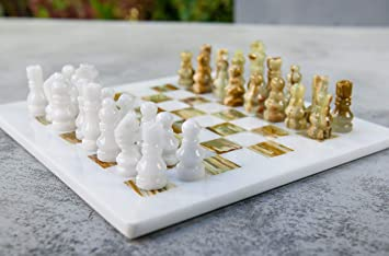 Buy Radicaln Handmade White And Green Onyx Marble Full Chess Game Original Marble Chess Set Online At Low Prices In India Amazon In