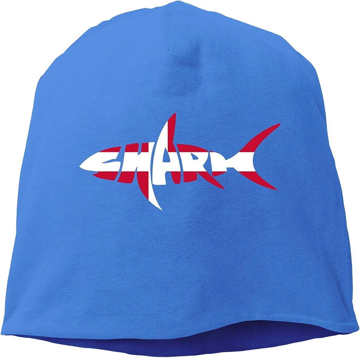 Denmark Flag Shark Letter Beanie Skull Cap for Women and Men Winter Warm Daily Hat
