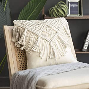 Phantoscope 100% Cotton Handmade Crochet Woven Boho Throw Pillow Farmhouse Pillow Insert Included Decorative Cushion for Couch Sofa Off White 18 x 18 inches