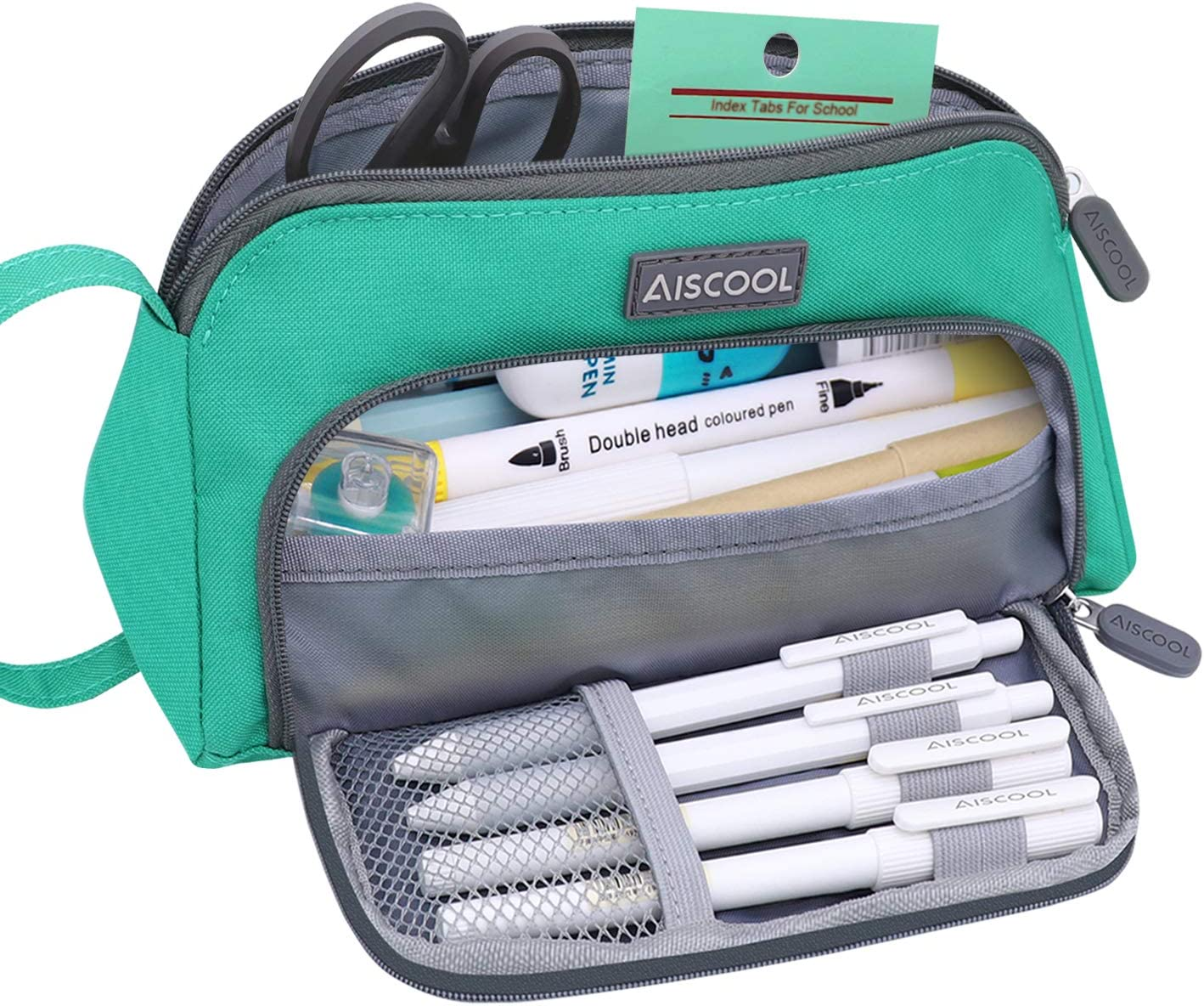 Aiscool Big Capacity Pencil Case Bag Pen Pouch Holder Large Storage Stationery Organizer for School Supplies Office College (Green)