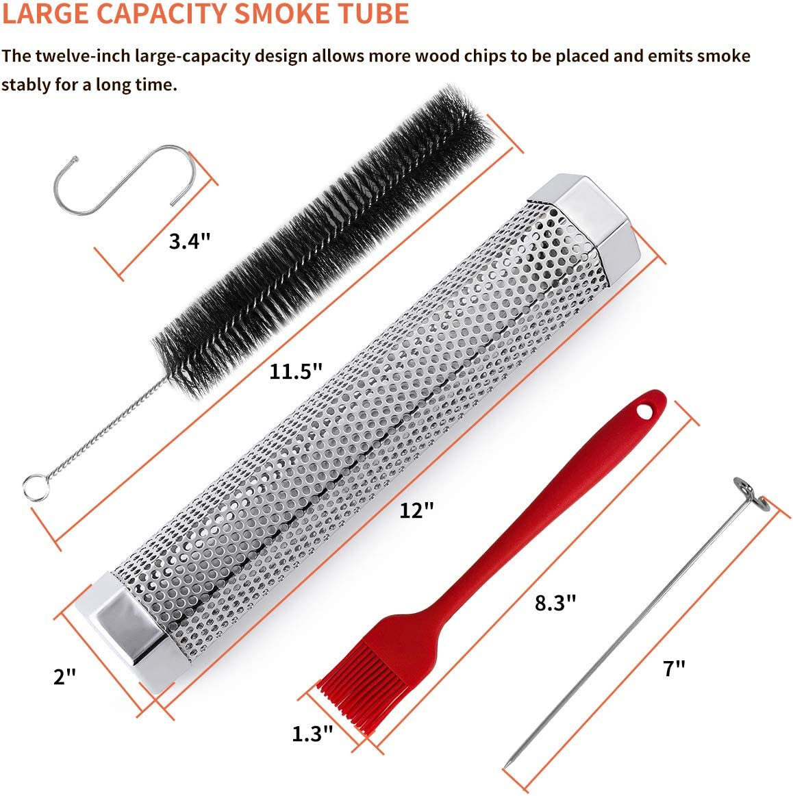 Ahomphe Grill Basket for Vegetables Large Grill Baskets for Outdoor Grill Heavy Duty Stainless Steel BBQ Grilling Accessories for Veggies Kabob Meat