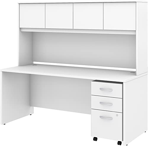 Studio C 72W x 30D Office Desk with Hutch and Mobile File Cabinet in White